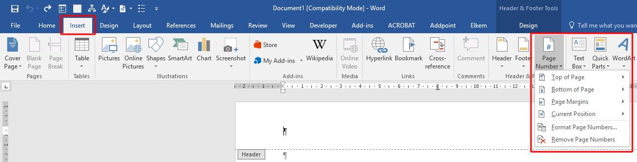 innebygde oppsett for sidenummerering i word