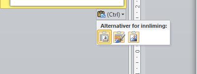 Alternativer for innliming i PowerPoint