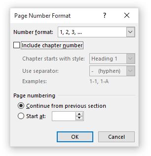 Formatere sidenummerering