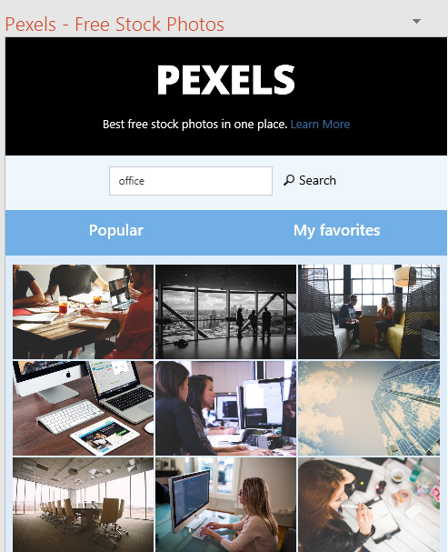 Pexels add-in for Office