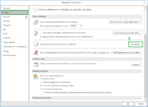 Pop-up meny i Outlook for alternativer