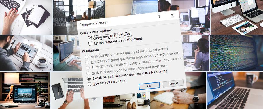Komprimere bilder i PowerPoint-mal