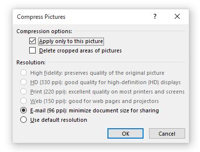 Valg for komprimering av bilder i PowerPoint