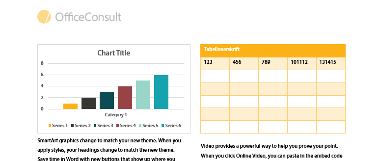 Charts and tables in report templates